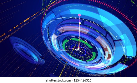 Cyber cosmos 3d illustration of dazzling blue and celeste circles rotating oppositely and having a compass dial face put aslant and thin arrows whirling too in the blue background.