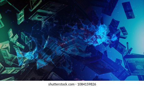 Cyber Crime, Cyber Attack Concep Background. Digital Technology Background, Cryptocurrency Concept.