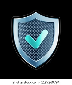 Cyber Defense. Metallic shield designed in 'techno style' isolated on black background. 3D rendering graphics.