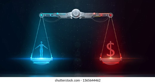 cyber digital scales with human on one side and business dollar sign on the other. digital ethics, personal data value, crypto protection and corporate responcibility 3d render.