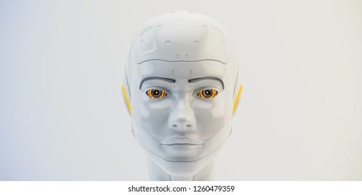 Cyber girl's head 3d illustration