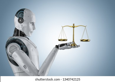 cyber law concept with 3d rendering robot hand holding golden law scale