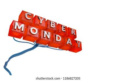 Cyber Monday Sale Concept. 3D illustration