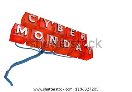 Cyber Monday Sale Concept. 3D illustration