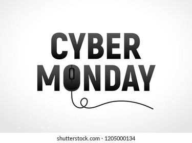Cyber monday sale illustration. Cyber monday advertisign with mouse. Online sale backgrund design.