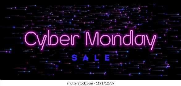 Cyber Monday Sale Neon Text. Futuristic background design concept. Cyber Monday Promo Sale Web Banner, Flyer, Discount Coupon.
