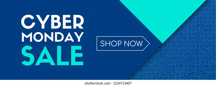 Cyber monday sale. Shop now. Banner template design. Raster version