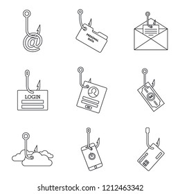 Cyber phishing icon set. Outline set of cyber phishing icons for web design isolated on white background