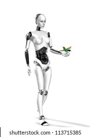 cyber robot woman with bird