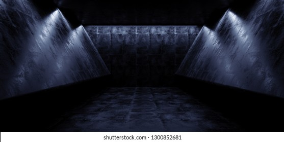 Cyber Sci Fi Futuristic Alien ship Dark Empty Reflective Grunge Concrete Abstract Stage Corridor Tunnel Hall Room Dimmed 3D Rendering Illustration