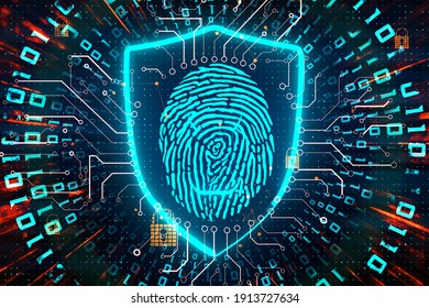 Cyber security concept with interactive fingerprint on digital screen with electrical diagram at dark background. 3D rendering.