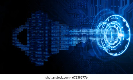 Cyber security concept; a key formed from binary code goes into an abstract lock.