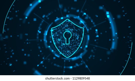 Cyber security concept: Shield With Keyhole icon on digital data background. . Blue abstract hi speed internet technology.