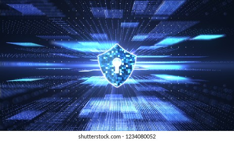 Cyber security concept. Shield with keyhole icon on abstract block chain big data digital center, server  and transfer of data communication background. Blue abstract hi speed internet technology.