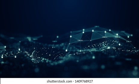 Cybersicherheitskonzept.Maschinelle Lernalgorithmen. Analyse der Informationen. Technisches Datenbinärkode-Netzwerk zur Förderung der Konnektivität, Data and Information Protection-Protokoll. Sichere Verbindung.