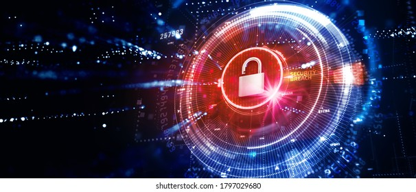 Cyber security data protection business technology privacy concept. 3D illustration. Security breach.