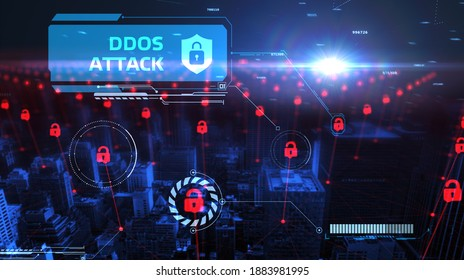 Cyber security data protection business technology privacy concept. Ddos attack 3d illustration