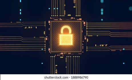 Cyber security illustration. Digital information protection. Data processing. Microchip, circuit concept. Lock icon. Digitalization, computer technology, Artificial Intelligence (AI). 3D Render