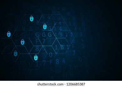 Cyber security illustration. Futuristic network or business analytics. Graphic concept for your design