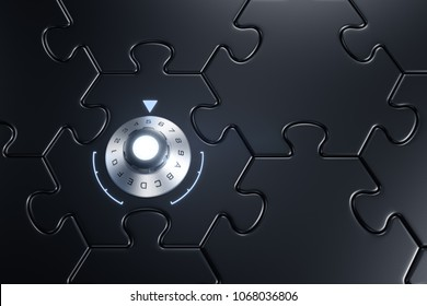 Cyber Security. Metallic combination lock inbuilt to piece of jigsaw puzzle which joined between other. 3D rendering graphics.