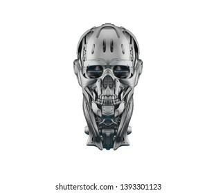 Cyber skull in front 3d rendering