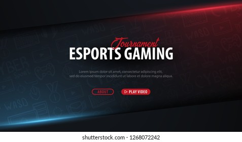 Cyber Sport banner. Esports Gaming. Video Games. Live streaming game match