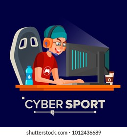 Cyber Sport Player. Participant Of Cyber Sport Tournament. Event. Event Poster Concept. Isolated Flat Cartoon Character Illustration