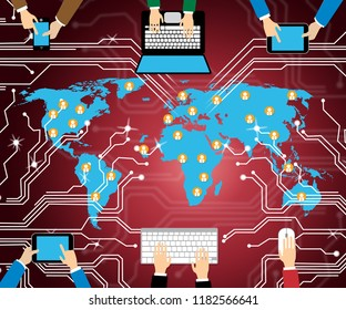 Cyber Terrorism Online Terrorist Crime 2d Illustration Shows Criminal Extremists In A Virtual War Using Espionage And Extortion