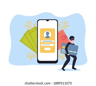 Cyber thief breaks a phone and steals money, credit card details. Hacked lock and bad antivirus. Flat cartoon illustration concept.