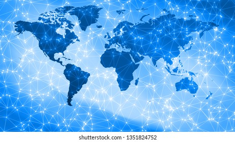 Cyber threats digital world security, connecting dots and lines on world map