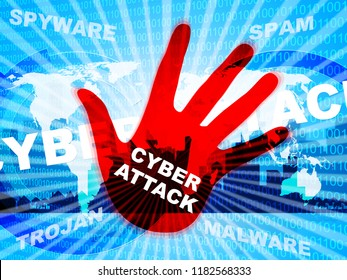 Cyberattack Malicious Cyber Hack Attack 2d Illustration Shows Internet Spyware Hacker Warning Against Virtual Virus