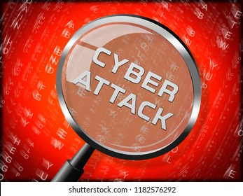 Cyberattack Malicious Cyber Hack Attack 3d Rendering Shows Internet Spyware Hacker Warning Against Virtual Virus