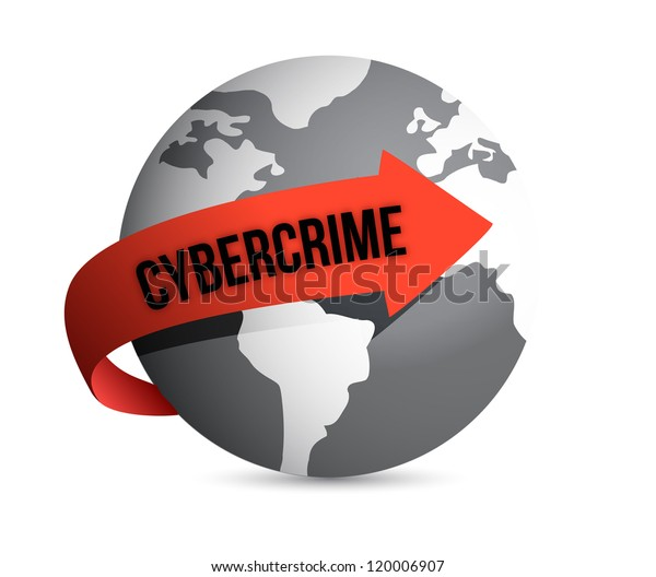 cybercrime globe illustration design over a white background