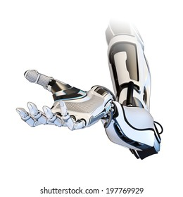 Cybernetic arm isolated on white background. Sci-fi robot giving hand