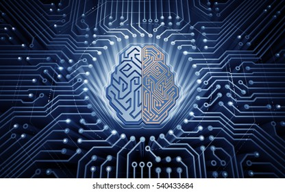 Cybernetic Brain. Electronic chip in form of cybernetic brain in electronic cyberspace. Illustration on the subject of 'Artificial Intelligence'.