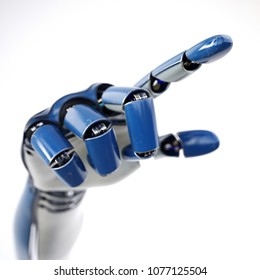 Cybernetic hand of robot working with virtual world. Futuristic design concept. Isolated on white background. 3d rendering.