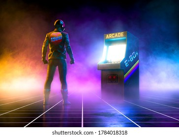Cyberpunk biker watch an 80s arcade videogame on a grid pattern floor on synthwave atmosphere with fog - concept art -3D Rendering