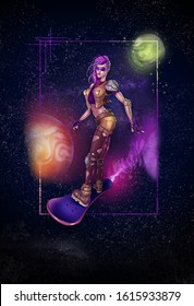 a cyberpunk character design skating in space