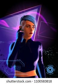 Cyberpunk girl with blue hair. 3D illustration.