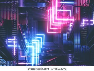 Cyberpunk neon background concept. 3D rendering.