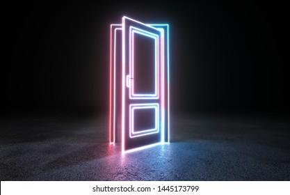 Cyberpunk neon door background concept. 3D rendering.