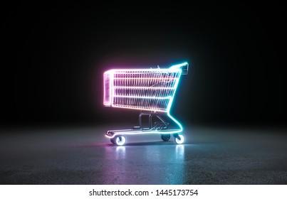 Cyberpunk neon shopping cart background concept. 3D rendering.