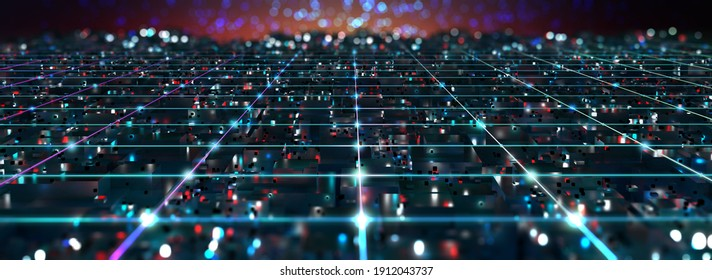 Cyberpunk. Quantum computer. Motherboard, processor, CPU, Global network technology Blockchain. Digital world of  future. 3D illustration background