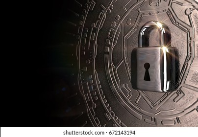 Cybersecurity concept image with a padlock in chrome tones. 3d model rendering.