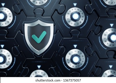 Cybersecurity Of Cryptographic Blockchain. Combination locks inbuilt to sections of a hexagonal jigsaw puzzle which are all interconnected of each other. 3D rendering graphics.