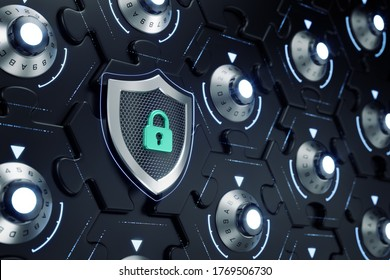 Cybersecurity Of Cryptographic Blockchain. Combination locks inbuilt to sections of a hexagonal jigsaw puzzle which are interconnected of each other. 3D rendering graphics.