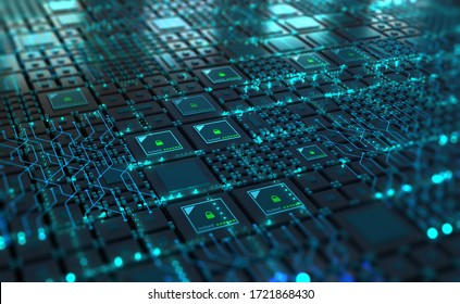 Cybersecurity in digital tomorrow. Computer of future, circuit board and hardware 3d illustration. Information Network and Global Database