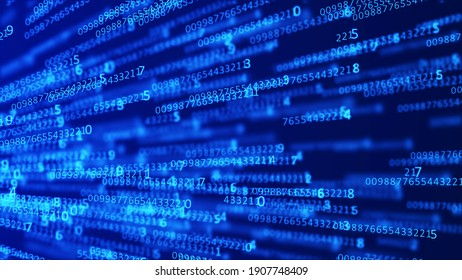 Cyberspace background with a set of numbers of different sizes. Big data visualization. Hacker concept. Abstract matrix. Technology or science banner. 3d rendering