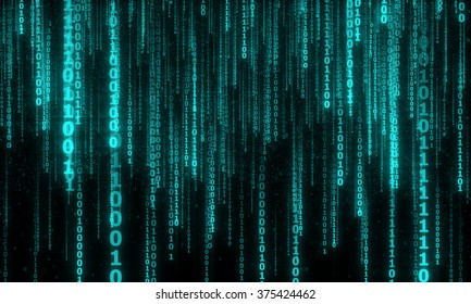 cyberspace with blue digital falling lines, abstract background, binary hanging chain
