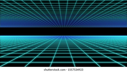 Cyberspace net 3d render. Fluorescent blue netting. Neon reticent. Abstract futuristic 90s grid. Cells surface reflection. Square dividing